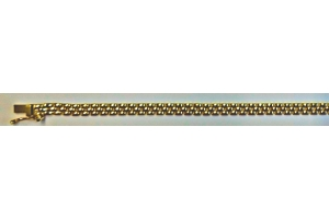 Collier Gelbgold 750, Backsteinmuster 3-reihig, 3.5mm, 45cm