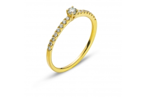 Ring Gelbgold 750 mit 16 Brillanten H SI Tot. 0.15ct. & 1 Brillant H SI 0.10ct.