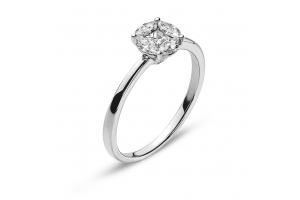 Ring Weissgold 750 mit 4 Marquise Diamanten G VS 0.37ct. & 1 Princess Diamant