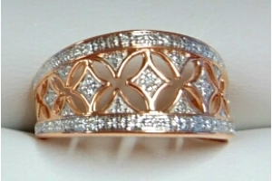 Ring Rotgold 750 mit 11 Brillanten H SI 0.0524ct.